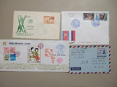 Four Korea covers:Fauna fdc,1961 fdc,aerogramme,cover with seal
