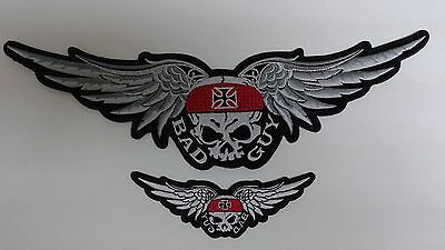 1+1 pc BIG & SMALL SKULL SCARF IRONCROSS WING BIKER EMB.PATCH SEW-ON