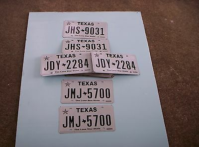 (30) Texas License Plates 15 Pairs ( lot of 30 ) 8+ years old