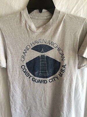 Vintage Women's T Shirt Small Grand Haven Michigan Coast Guard City 1980s
