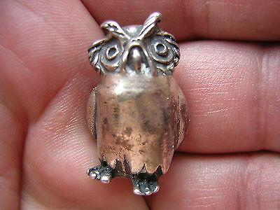 Vintage Solid Sterling Silver Figural Miniature Owl Figure Statue Figurine