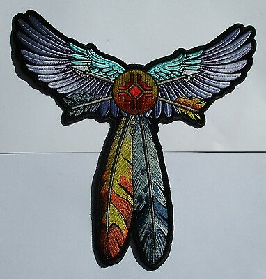 Tribal wings & Feathers Large back Patch Sew/Iron Rider biker Motorcycle vest