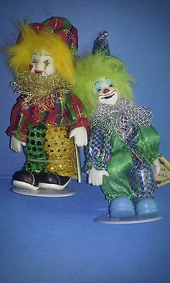 Lot of 2 Colorful Porcelain Bisque Standing Clowns Jester New of Old Stock