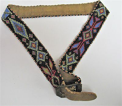Vintage Brain Tanned Leather Beaded Belt - Native American