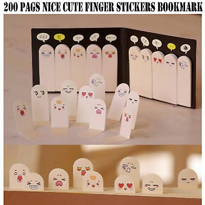 200 Pages Cute Finger Stickers Bookmark Memo Pad Label Post It Marker | LiFaFa