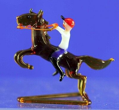 Vintage Bimini Type Boy On Horseback Hand Made Glass Figurine
