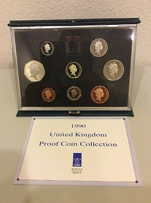 1990 UK (Great Britain) Royal Mint Proof Set -  8 Coins