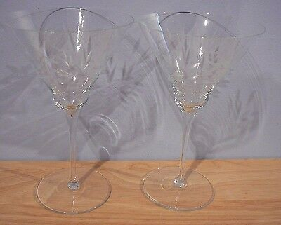 """2 Vintage Etched Glass Martini Glasses 8"""""""