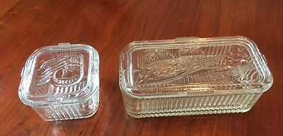 2 vintage Federal Clear Depression Glass Square Ribbed Covered Refrigerator Dish