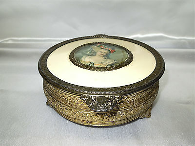Antique P.N.C.W Brass and Glass Candy Dish Vict. Style Made in USA, Late 1900