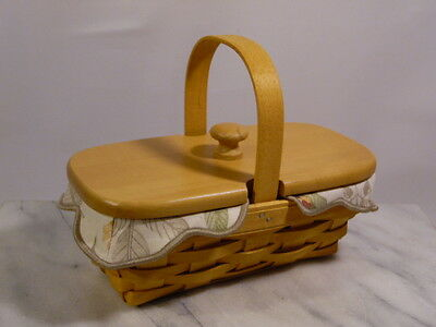 LONGABERGER Basket with Lid, Protector and Cloth Liner Cancer Society 2000