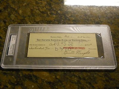 Orville Wright Signed Check Psa/dna Authentic Auto Wright Brother Kitty Hawk