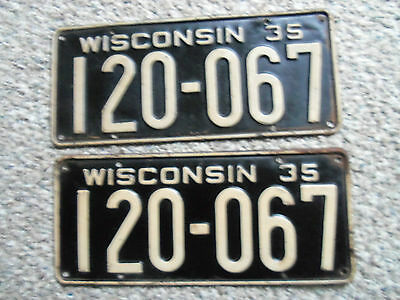 1935  Wisconsin  License Plate  1935 Ford ? 1935 Chevrolet 1935 Dodge