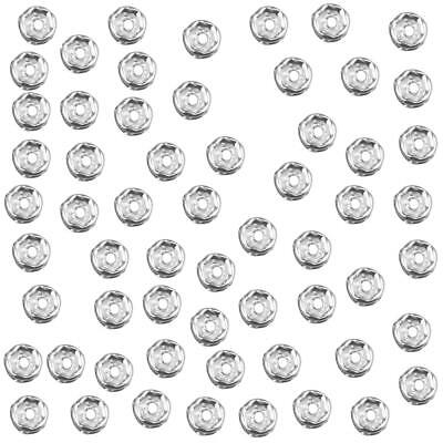 100x 6mm Silver Rhinestone Rondelle Beads Loose Spacer Bead Jewelry Making