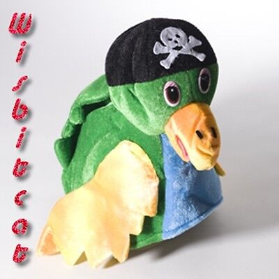 NEW Soft Green Polly PIRATE PARROT HAT for Costume, Luau, Jimmy Buffett Concerts