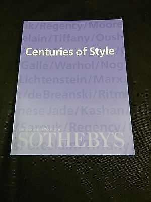 "Sotheby's Auction Catalog ""centuries Of Style"" June 2000"