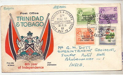 Trinidad & Tobago Fdc Cover 5th Independence 1967.
