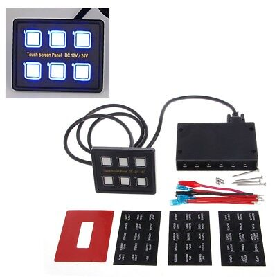 6 Gang 12V/24V LED Touch Screen Panel Slim Switch Control Car Boat Truck Marine