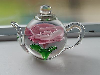 Edinburgh Art Glass Paperweight PINK ROSE Teapot