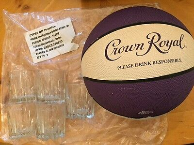 Man cave Crown Royal Canadian whisky Retro basketball and 5 low ball glasses