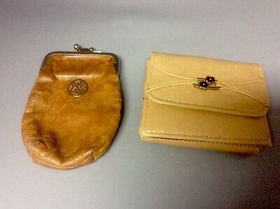 Vintage Roger Gimbel Wallet, & Buxton Leather Double Coin Purse Kiss Clasp