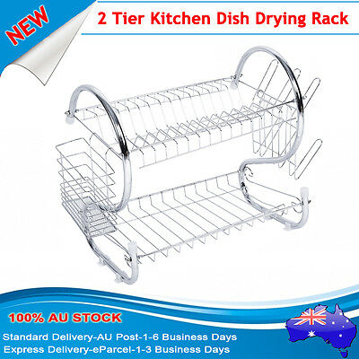 2 Tier Dish Plate Bowl Cup Drying Rack Holder Organizer Home Kitchen AU DELIVERY