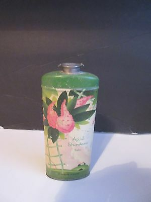 Vtg April Showers Talcum Lithographed Powder Tin Cheramy
