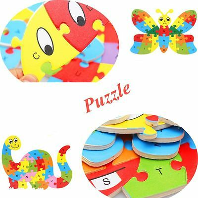 Kids Gift ABC Learning Teaching Aids Alphabet Wooden Jigsaw Puzzle Toy
