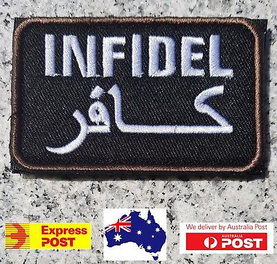 New Infidel Arabic Black Tactical Morale  Hook Loop Patch Australian Seller