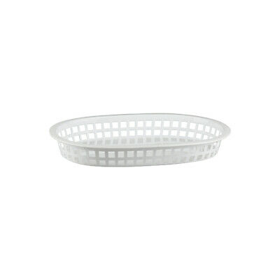 24 x White Plastic Bread Basket, Large Oval, Burgers / Fries / Cafe / Diner