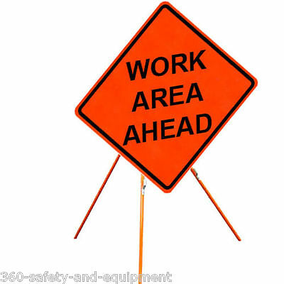 """Work Area Ahead 48"""" X 48"""" Vinyl Fluorescent Roll Up Sign And Tripod Stand"""