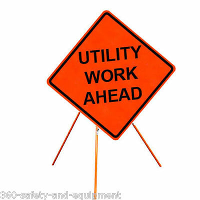 """Utility Work Ahead 48"""" X 48"""" Vinyl Fluorescent Roll Up Sign And Tripod Stand"""