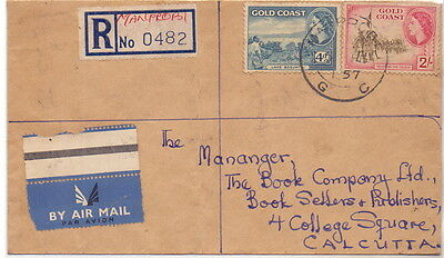 Gold Coast Registerd Cover With Stamp To India 1957.