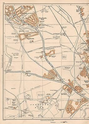 1938 Original Yorkshire Vintage Map : Woodlands Highfields Cusworth Bentley R