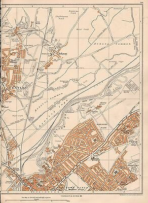 1938 Original Yorkshire Vintage Map : Bentley Wheatley Hills Willow Bridge Ar