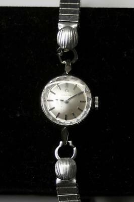 Vintage 1970 OMEGA GOLD WATCH Ladies Cocktail - SOLID 9ct WHITE GOLD - Hand Wind