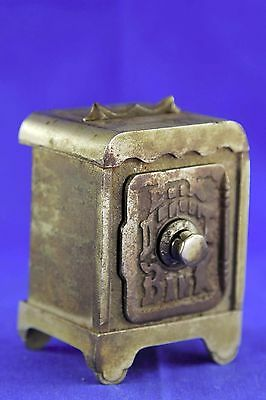 Antique Cast Iron Coin Deposit Combination Bank With Handle