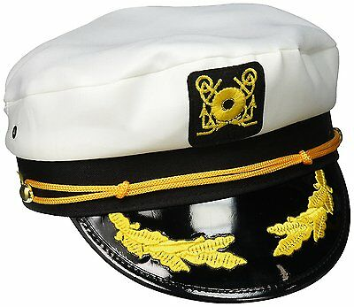 Sailor Ship Yacht Boat Captain Hat Navy Marines Admiral Cap Hat White Gold ...