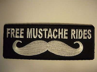 Free Mustache Rides..... Patch Sew/Iron - Rider biker Men's Shed Motorcycle