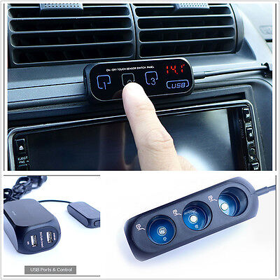 Car Cigarette Lighter Socket outlet Adapter/Splitter Touch Charger Dual USB 3Way