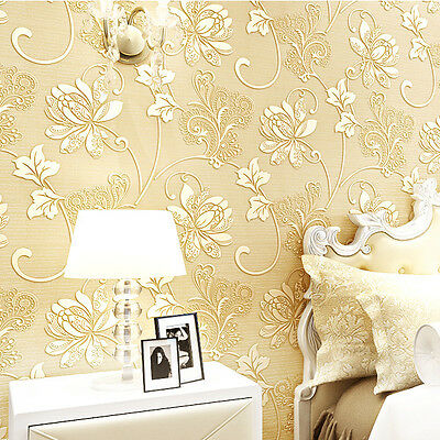 10M Wall Paper 3D Wallpaper Roll Damask Non-woven Embossed Textured Bedroom