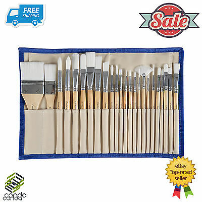 24 Pcs Paint Brush Set Professional Synthetic Chip Brush w/ Cotton Case OZ-Stock