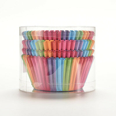 100 Pcs Rainbow Color Paper Cake Cupcake Liners Baking Muffin Cup Case Party ky