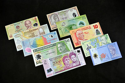 10 Different  Polymer Banknotes Collection. UNC CURRENCY  FREE SHIPPING!!
