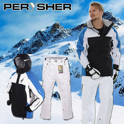 PERYSHER Performance Mens Board / Ski Suit - Jacket & Pants Blue&White Set