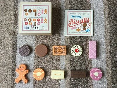 10 Traditional Wooden Tea Party Biscuits Counting Game Picnic Educational Toy