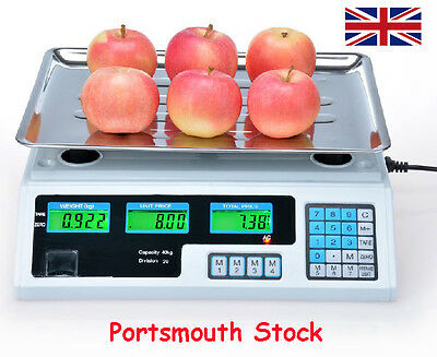 UK! NEW 40KG Kitchen Scale Digital Commercial Shop Electronic Weight Scales Food