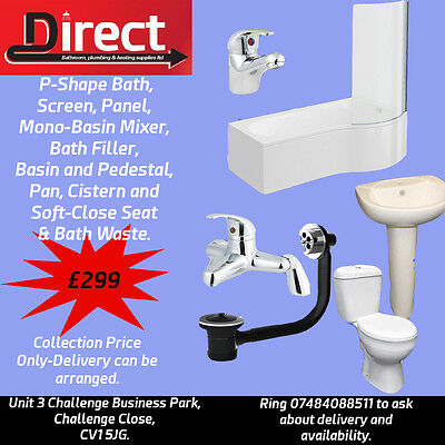 Complete P-Shape Bath Suite. Bath,Sink,Toilet,Screen,Waste and Taps Included