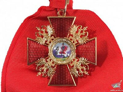 Russian Imperial Order of Saint Alexander Nevsky Cross, gold-plated best Replica