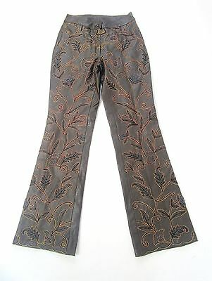 "Vintage Brown Leather Embroidered Embellished Floral Trousers W26"" L30 Size 8"